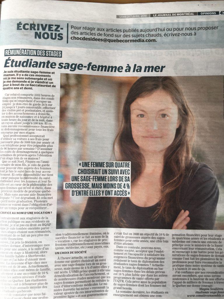 Une tudiante sage femme la mer dans le journal de for Auberge de la vieille maison rimouski qc